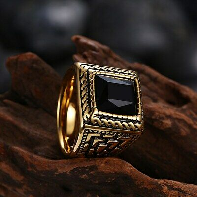 Square Black Stone Men Rings Signet Stainless Steel Biker Ring Male Jewelry Gold
