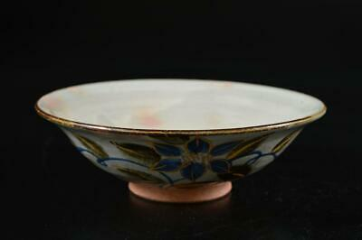S387: Japanese Kiyomizu-ware Colored porcelainGold paint Flower pattern TEA BOWL