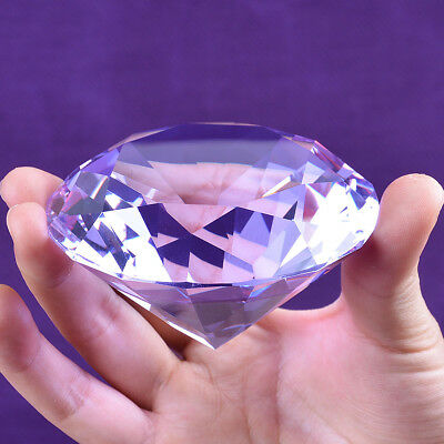 Crystal Purple Paperweight Faceted Cut Glass Giant Diamond Decor Craft 80mm