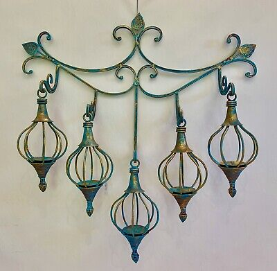 Wrought iron turquoise wall rack and hanging candelabra hand forged bespoke