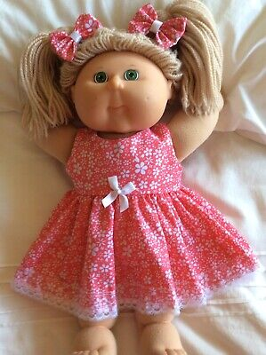 "DOLLS CLOTHES - DRESS & BOWS to fit 16"" CABBAGE PATCH ~ Watermelon / White Flowe"
