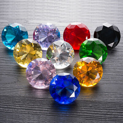 10 Colors Crystal Glass Diamond Paperweight Xmas Wedding Decor Gift 50mm