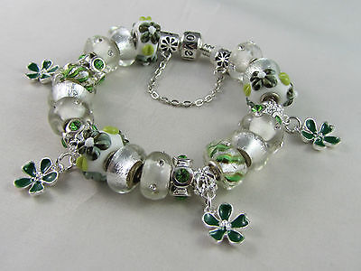 "20cm BEAUTIFUL 925 STAMPED EUROPEAN STYLE CHARM BRACELET ""SILVER & GREEN FLORAL"""