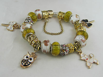 "925 SILVER STAMPED GOLDEN 20cm CUTE EURO STYLE CHARM BRACELET ""CREATURE COMFORT"""