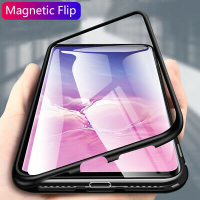 Fits Samsung Galaxy S10 Plus Magnetic Adsorption Metal Case Tempered Glass Cover