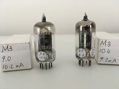 2x matched Brimar 12AU7 tubes 50s long grey plates square getters. Test strong.