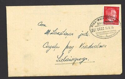Germany WWII Ostland Cover 1944 Riga Walk Bahnpost Railway cancel Local use
