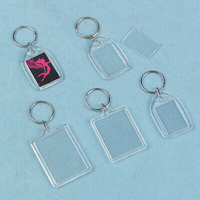 100x Premium Insert Clear Acrylic Plastic Passport Photo Blank Keyrings Key Fobs