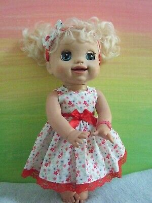 Dolls Clothes for 38cm MED BABY ALIVE DOLL ~ dress & headband / red floral