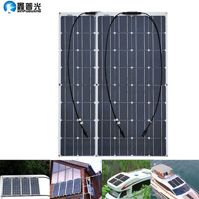 2x100w Solar Panel 200w 16V Monocrystalline for Boat Home RV Car Camping Charger