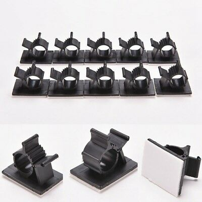 10/100 pcs Cable Clips Collect Cord Management Black Wire Holder Organizer Lot