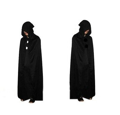 Unisex Black Long Hooded Cloak Cape Medieval Costume Coat Fancy Dress Robe MH