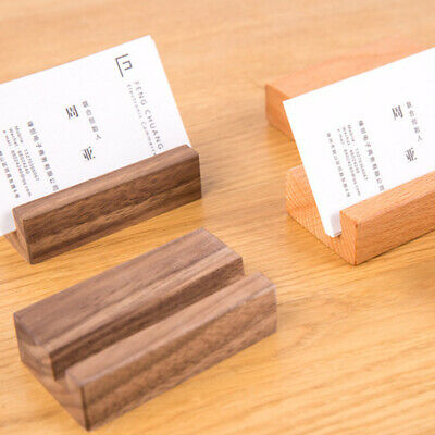 Wooden Name Card Business Card Holder Handmade Box Storage ID Credit Stand Rack