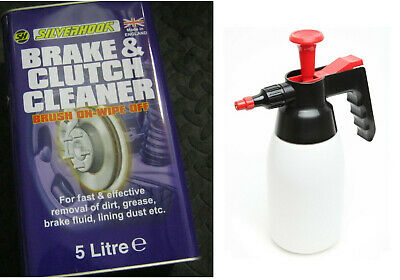 BRAKE AND CLUTCH CLEANER FLUID STRONG SOLVENT HEAVY DUTY 5L + XX130 Pump Sprayer