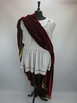 """Costume White Roman Grecian Ceasar Tunic Dress With Large Red Sash C40"""" W40"""""""
