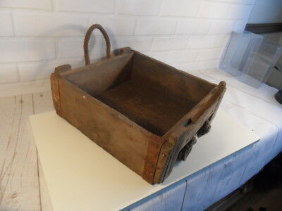 Fabulous Old Militaria Ammo wooden crate with original rope handles