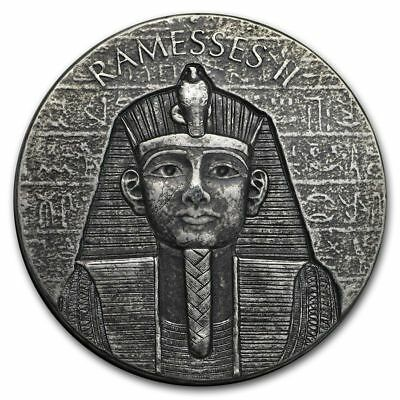 2017 Republic of Chad 2 oz Silver Ramesses II, ships from Canada, in stock.