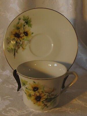 Vintage Fine China Japan Cup and Saucer Yellow Daisy's