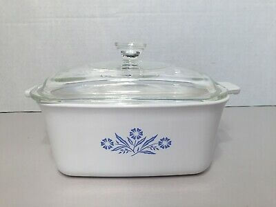 "Vtg Corning Ware P-4-B Blue Cornflower 7"" X 5-1/2"" x 3"" Loaf Pan Meatloaf Dish"