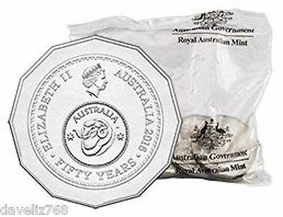 1 X 2016 50 Cent uncirculated coin TAKEN from a unopened bag of 20 coins