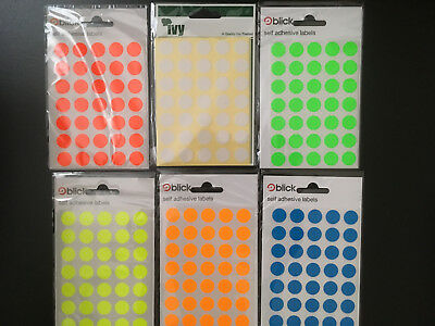 IVY BLICK 13mm Sticky Dot Labels Self Adhesive Stickers Circle Round Spot