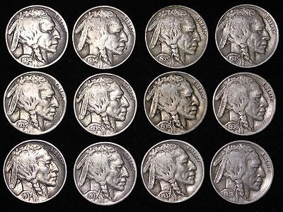 Short Set! ALL 12 Sharp Coins 1934 - 1938 P D S BUFFALO NICKELS 5c FREE P/Ha