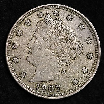 1907 Liberty V Nickel CHOICE XF FREE SHIPPING E190 B