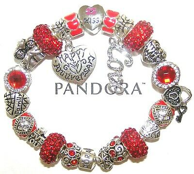 Authentic Pandora Bracelet Silver With WIFE ANNIVERSARY RED LOVE European Charms