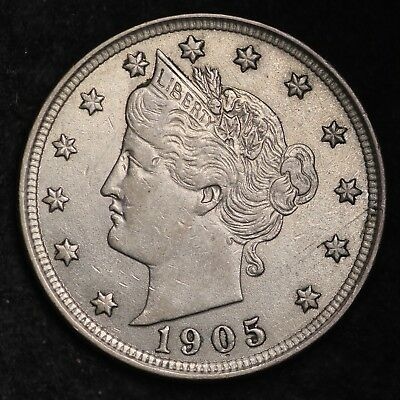 1905 Liberty V Nickel CHOICE BU FREE SHIPPING E256 UHT