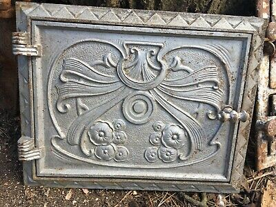 Art Noveau Vintage cast iron fire door clay / bread oven / pizza stove / smoker-