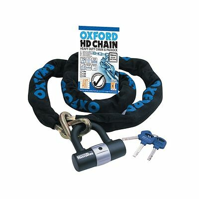 Oxford Sold Secure 1.5m HD Motorbike Motorcycle Chain Lock + Ground Anchor