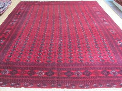 AN AMAZING OLD HANDMADE AFGHAN WOOL ON WOOL ORIENTAL RUG (385 X 302 cm)
