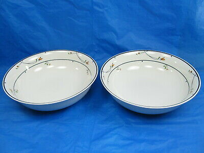"""2 Gorham Ariana Round Vegetable Bowls 8"""" Town & Country Fine China Blue Band"""