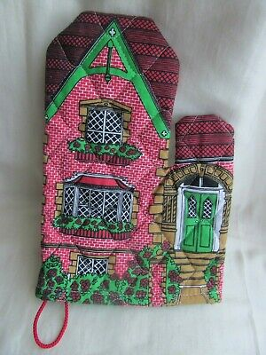 Frances Worters Townhouse Oven Mitt/Glove/Gauntlet Quilted Lovely Condition
