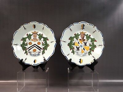 18thC French Faience Rouen Style Heraldic Armorial Plates Bowls Fayence Antique
