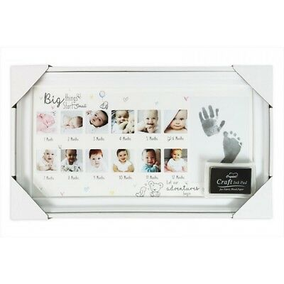 Babies Baby first year photo frame hand foot print baby shower maternity gift
