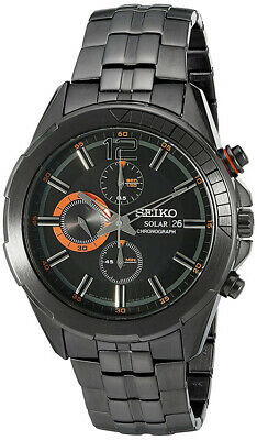 Seiko Men's RECRAFT Solar Chronograph Black Tone Stainless Steel Watch SSC383