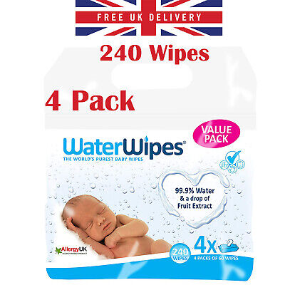 Water Wipes Natural Sensitive Skin Chemical Free Baby Wipes 4 Packs 240 Wipes