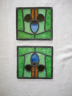 Lovely Pair Of Leaded Stained Glass Panels