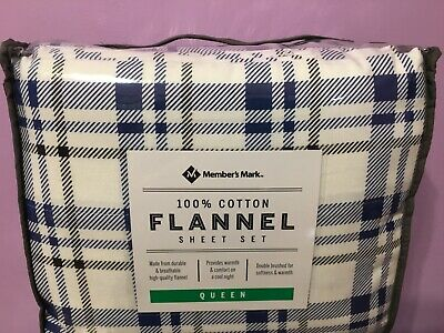 Flannel Sheet Set Queen Member's Mark New Blue & White 100% Cotton Heavy Weight