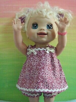 Dolls Clothes for 38cm MED BABY ALIVE DOLL ~ pinafore  / shorts / hair bows -