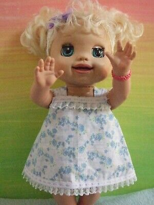 """Dolls Clothes for 16"""" BABY ALIVE DOLL ~ blue floral / pinafore~bloomers~headband"""