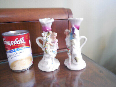 Adorable Chamber Stick Candle Holders 18th C Style Man And Woman  N/R