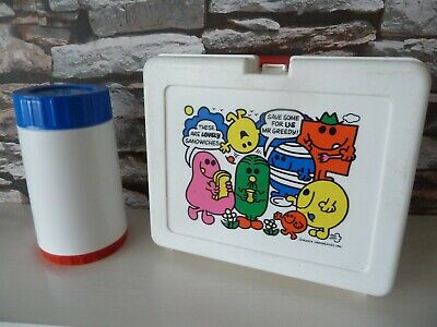 VINTAGE CLASSICS BLUEBIRD 1981 MR MEN LUNCHBOX with FLASK - SCHOOL.