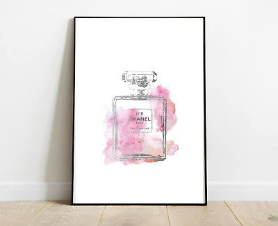 Chanel Print Perfume Bottle Grey Pink For Home Decor Dressing Room A4 Art