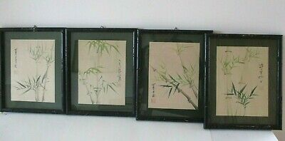 Four Antique 19th/early 20th  Century Chinese Signed Bamboo Paintings on Silk