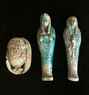 3, EGYPTIAN ANTIQUE EGYPT STATUE Shabty Shawabti SCARAB Beetle Carved Stone, BCE
