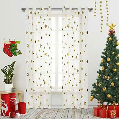 Gold Star Print curtains for Nursery Kids Bedroom Cute Twinkle Stars with White