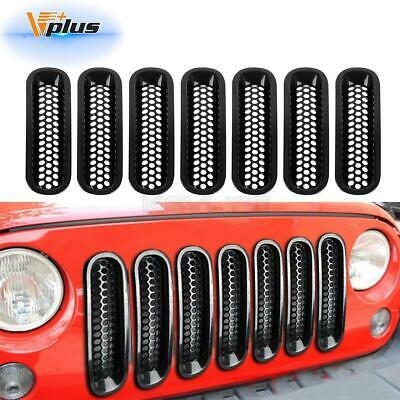 7PCS Grille inserts For 2007-2016 Jeep Wrangler Mesh Grill Guard Front bumper
