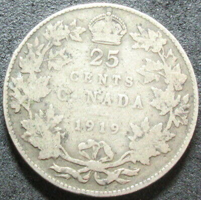 1919 Canada Silver Twenty Five Cent Coin